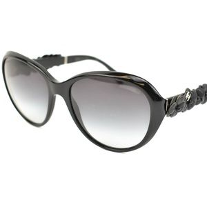 CHANEL Black Leather Camellia & CC Sunglasses (ag)